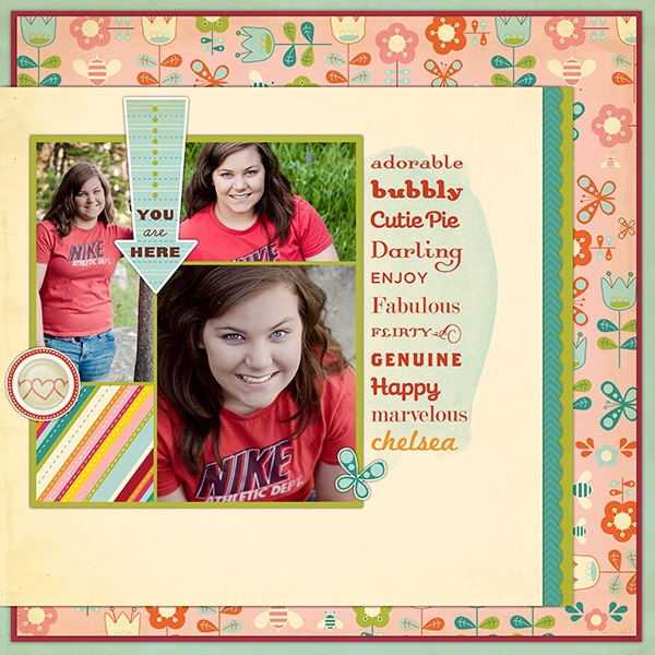 Scrapbook LO using Cosmo Cricket Product