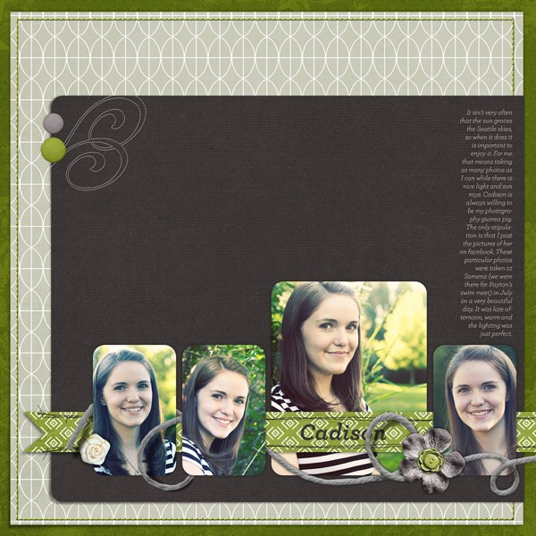 Scrapbook LO using Queen of Quirk products